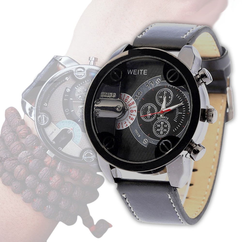 man big watches dial special new round watch weite lot for sport leather item head wrap