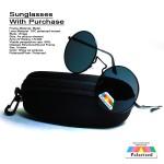 Black Polarized Lens Unisex Classic Round Sunglasses With Purchase 107