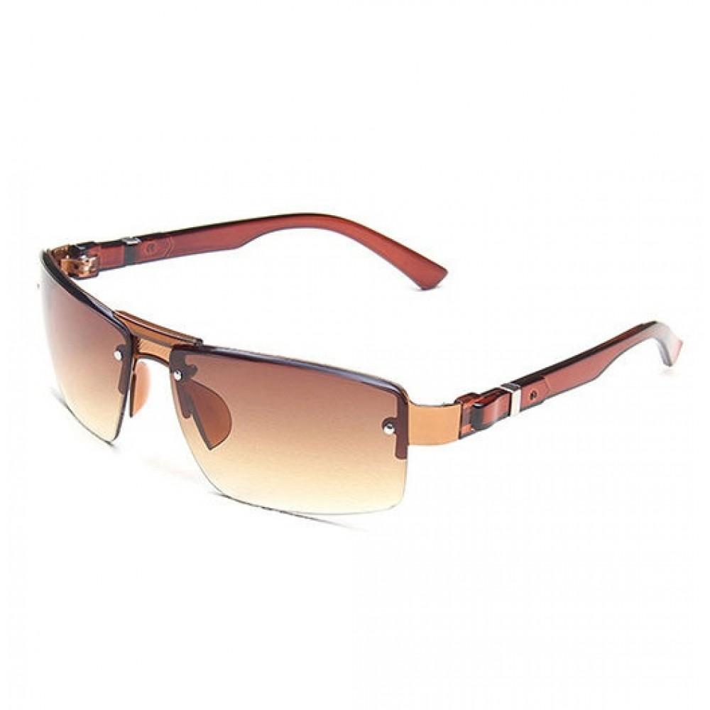 Brown Rectangular Semi-Rimless Fishing UV400 Sunglasses 37