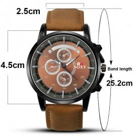 Casual Men's Leather Analog Quartz Wrist Watch 199
