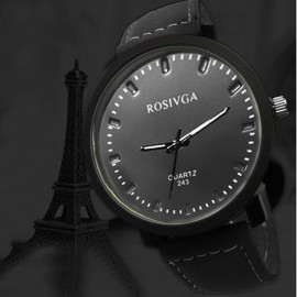 Rosivga Men Leather Quartz Wrist Watch 83