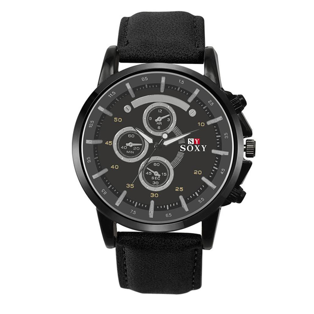 Black Casual Men's Leather Analog Quartz Wrist Watch 289