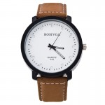 Brown Rosivga Men Leather Quartz Wrist Watch 297